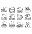 power plants icons set of industrial buildings vector image vector image
