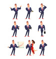 self confident businessman in various situations vector image vector image