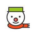 snowman face christmas related style design icon vector image vector image