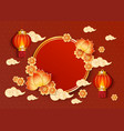 template with red chinese lanterns clouds and vector image vector image