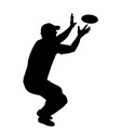 throwing flying disk catch game toy silhouette vector image vector image