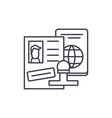 tourist visa line icon concept tourist visa vector image vector image