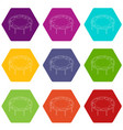 trampoline jumping icons set 9 vector image vector image