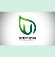 u leaf logo letter design with green leaf outline vector image