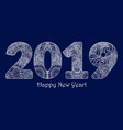 white patterned painted figures 2019 happy new vector image vector image