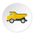 yellow dump truck icon circle vector image vector image