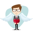 Young Man Inspired by Love Keeps the Heart vector image