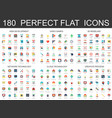 180 modern flat icons set of web development vector image vector image