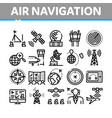 air navigation tool collection icons set