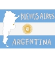 argentina border shape flag on background and hand vector image vector image