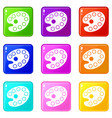 art palette icons 9 set vector image vector image