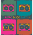 audio cassette popart background vector image vector image