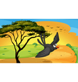 bird fly near tree vector image vector image