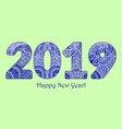blue patterned figures 2019 year happy new year vector image vector image