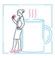 businesswoman on a coffee break - line design vector image