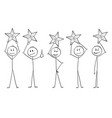 cartoon five men or businessmen holding stars vector image