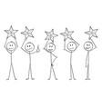 cartoon of five men or businessmen holding stars vector image