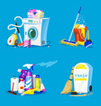 cleaning tools set of house icons for poster vector image vector image