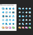 cloud computing icons light and dark theme vector image vector image