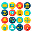 cryptocurrency bitcoin flat icons vector image vector image