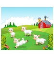 Cute cartoon sheep collection set with farm vector image