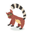 cute lemur cartoon icon in flat design vector image