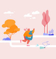 female character plogging young woman pick up vector image