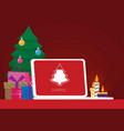 geek happy new year and christmas card flat vector image vector image