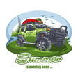 green off-road car with luggage on roof near vector image vector image
