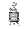 mechanical wine press engraving vector image vector image