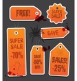 Orange Halloween price sale tags isolated on black vector image vector image