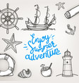 retro style travel objects enjoy summer adventure vector image