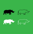 rhinoceros icon black and white color set vector image