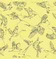 single line bird drawings seamless pattern vector image