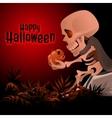 Skeleton holding a skull text Happy Halloween vector image vector image