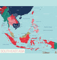south east asia region detailed editable map