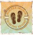 surfing colored vintage emblem with flip flops vector image vector image