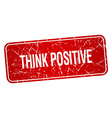 think positive red square grunge textured isolated vector image vector image