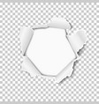 torn hole in sheet transparent paper vector image vector image