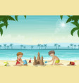two kids build a sandcastle vector image