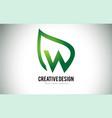 w leaf logo letter design with green leaf outline vector image vector image