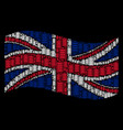 waving great britain flag collage of electric vector image vector image