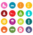 winter icons many colors set vector image vector image