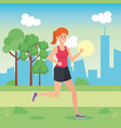 woman running in the park vector image