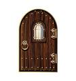 wooden door with window vector image