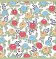 yellow blue and red roses seamless pattern vector image