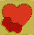 Heart decorated with rosespostcard vector image