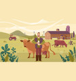 agriculture industry farming people and animal vector image