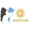 argentina border shape flag and hand drawn sun vector image