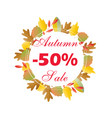 autumn sale circle banner with bright fall leaves vector image vector image